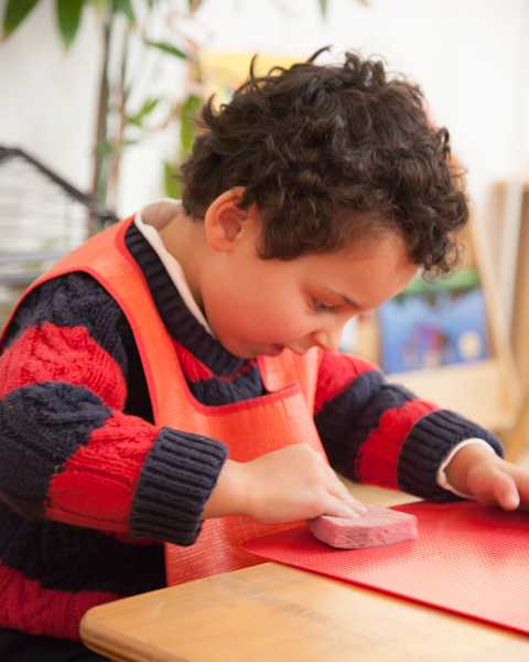 A Montessori program for children beginning at age 2 years 9 months through age 6. The primary curriculum lasts three years and is comprised of 5 areas.